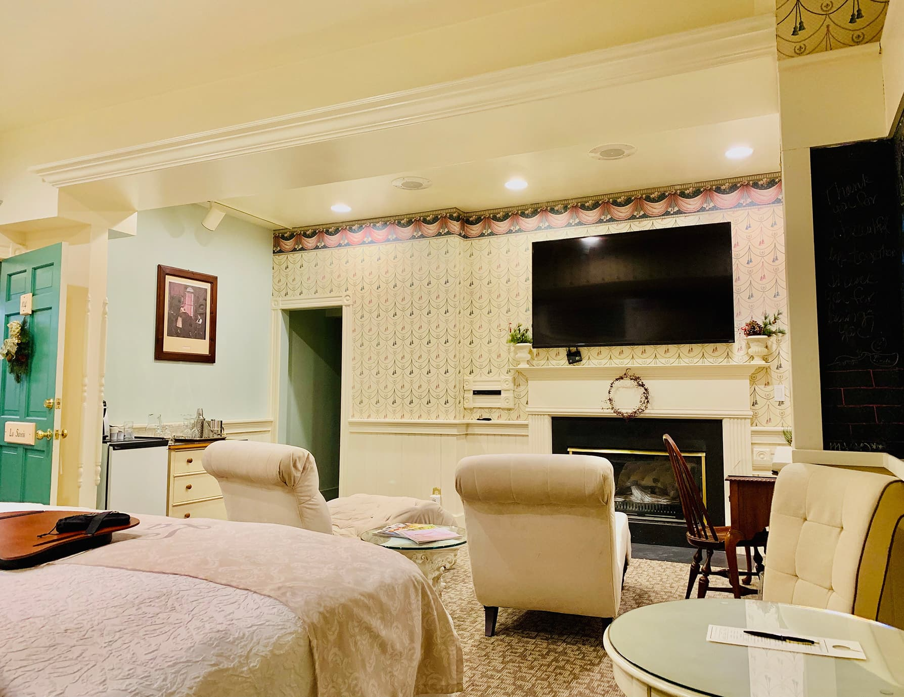 La Savoie Deluxe room sitting area with TV and fireplace - Lee, MA Boutique Hotel