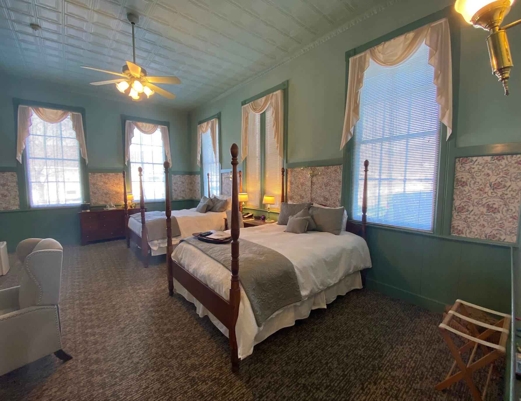 La Sedgwick room beds at a Hotel in Lenox, MA