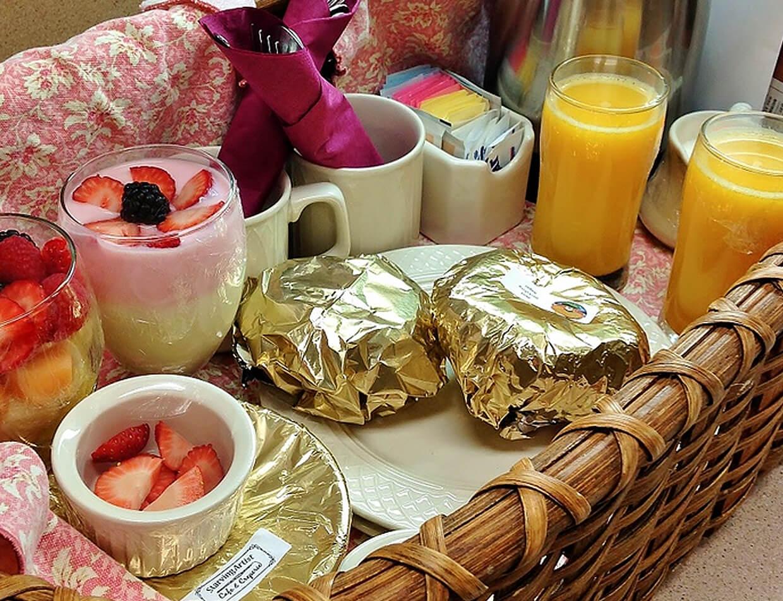 breakfast basket with juice and yogurt