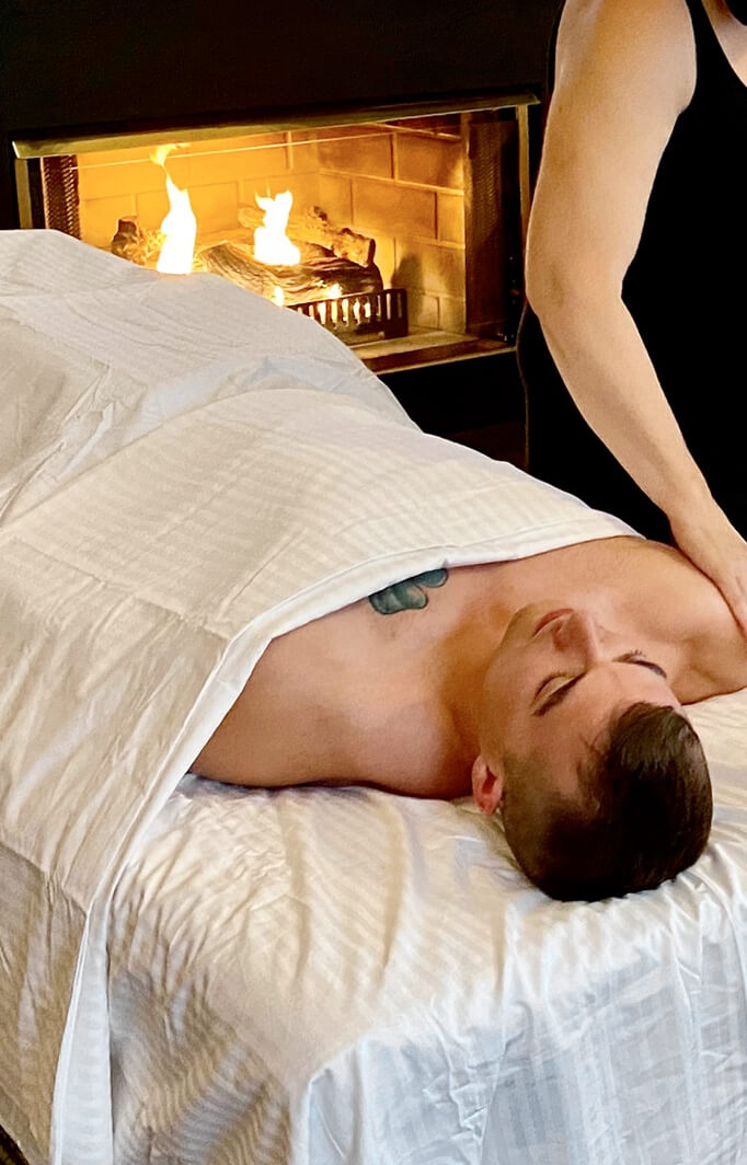 massage by fireplace at a Berkshires bed and breakfast
